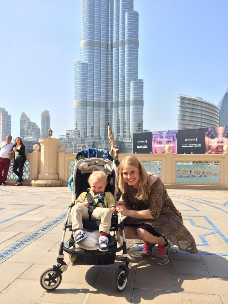 Margrét og Jóhann Orri hjá Burj Khalifa.